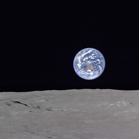 Earth rising over the lunar horizon, captured by the Kaguya orbiter