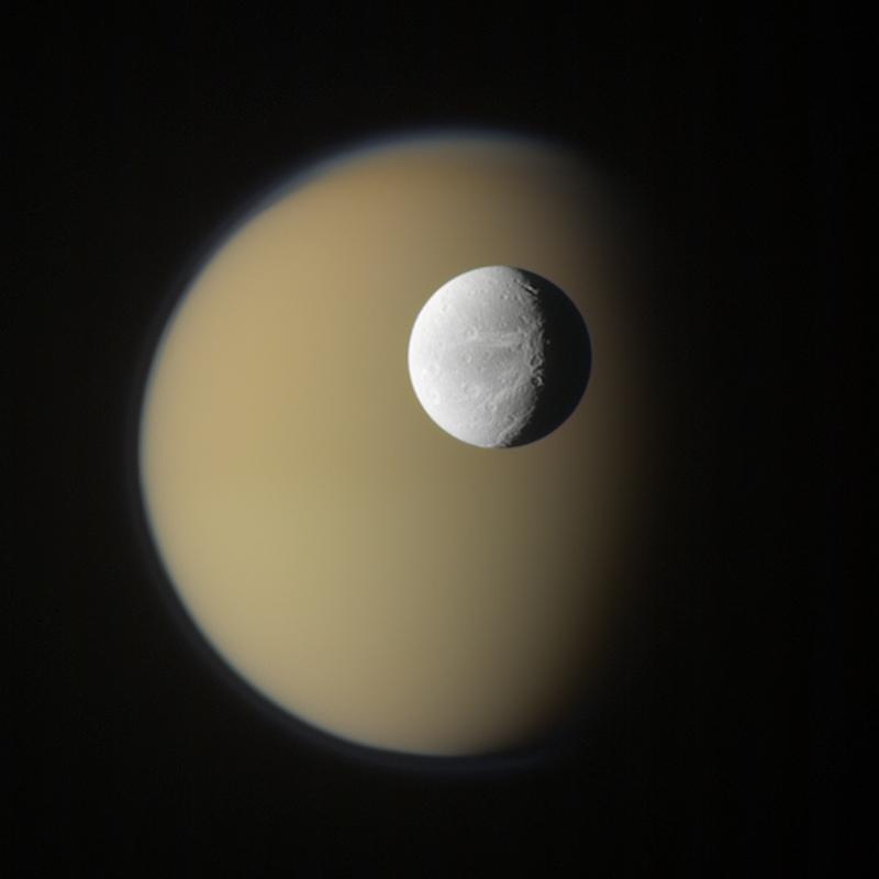 Saturn moons Titan Dione
