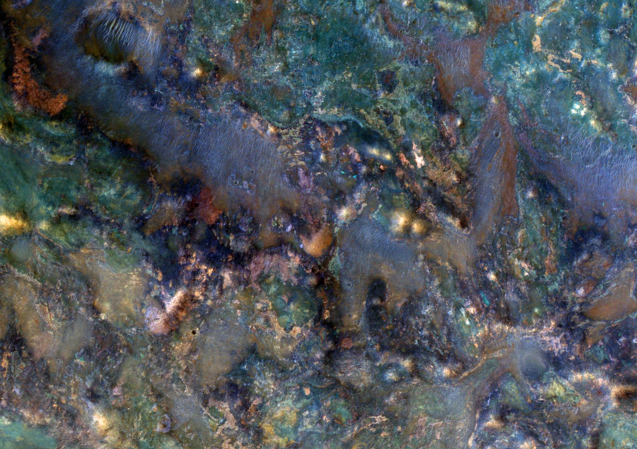Enhanced-color rocks near Nili Fossae on Mars.