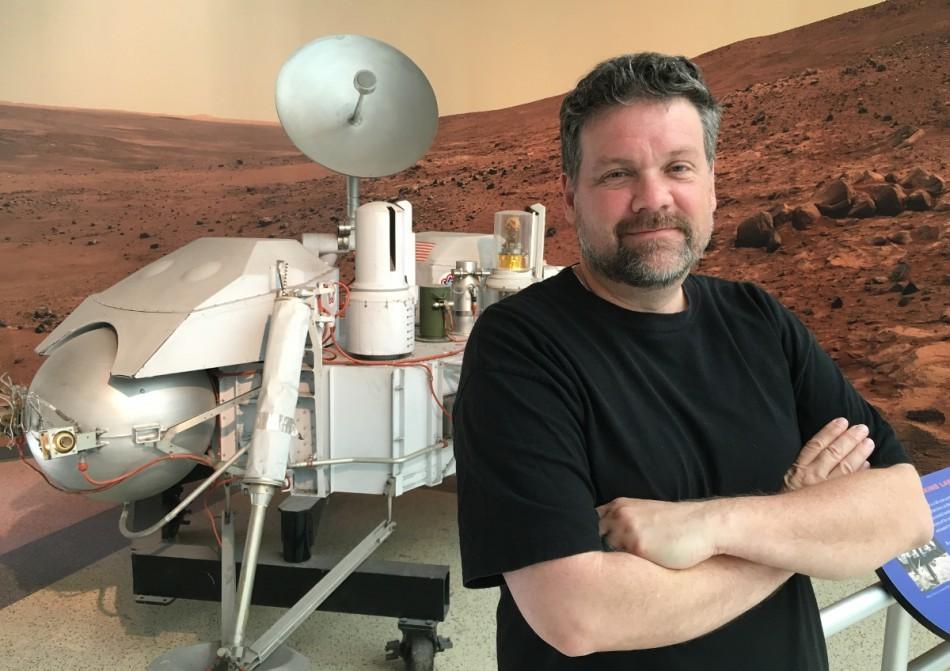 Bill Dunford by Viking lander model
