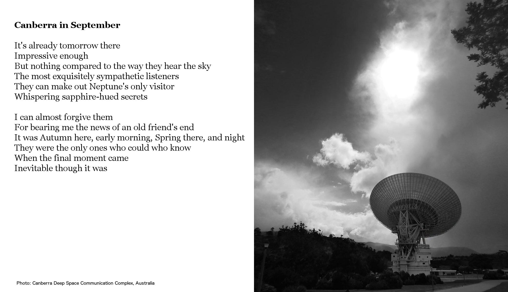 poem, photo of large radio dish